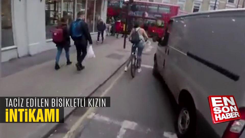 Bisikletli genç kızdan tacizci şoföre ders
