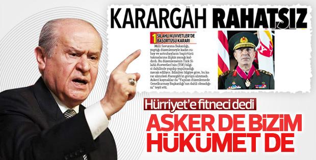 Devlet Bahçeli'den Hürriyet'in manşetine tepki