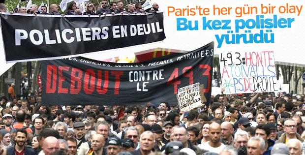 Paris'te binlerce polisten protesto yürüyüşü