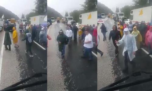 CHP'liler adalet yürüyüşünde kamyon şoförüne saldırdı