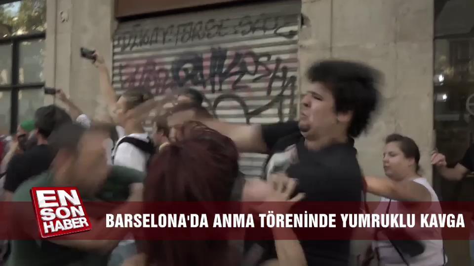Barselona'daki anma töreninde yumruklu kavga