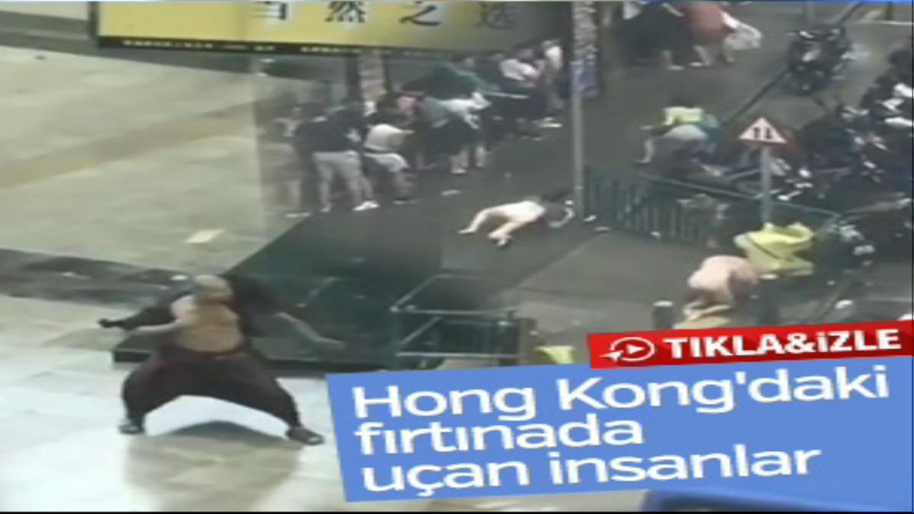 Hong Kong'da tayfun her şeyi uçurdu