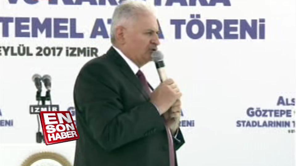 Binali Yıldırım İzmir'de statların temel atma töreninde