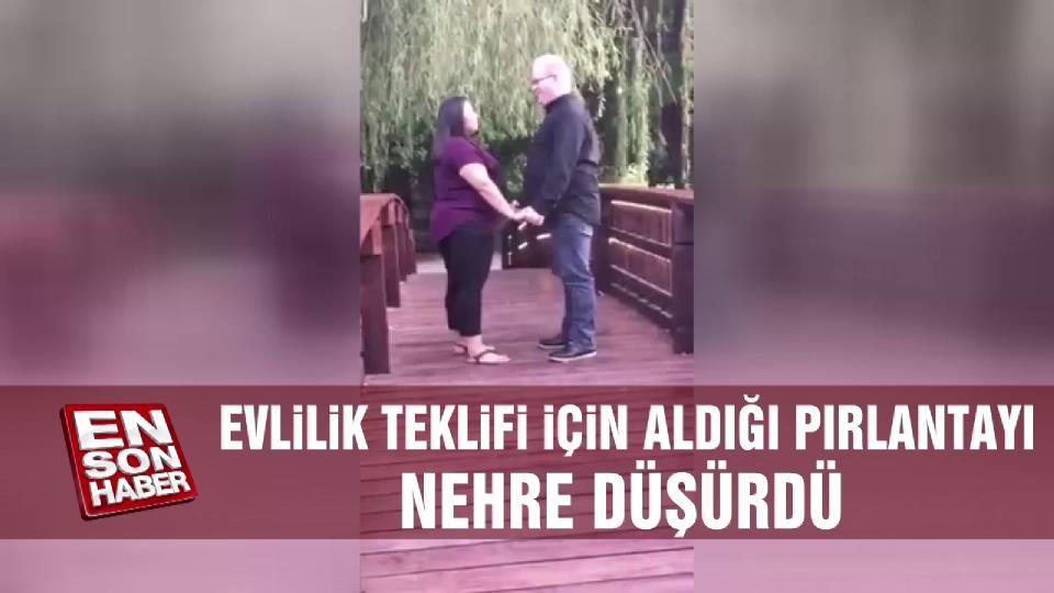 Evlilik teklifi için aldığı pırlanta yüzüğü nehre düşürdü