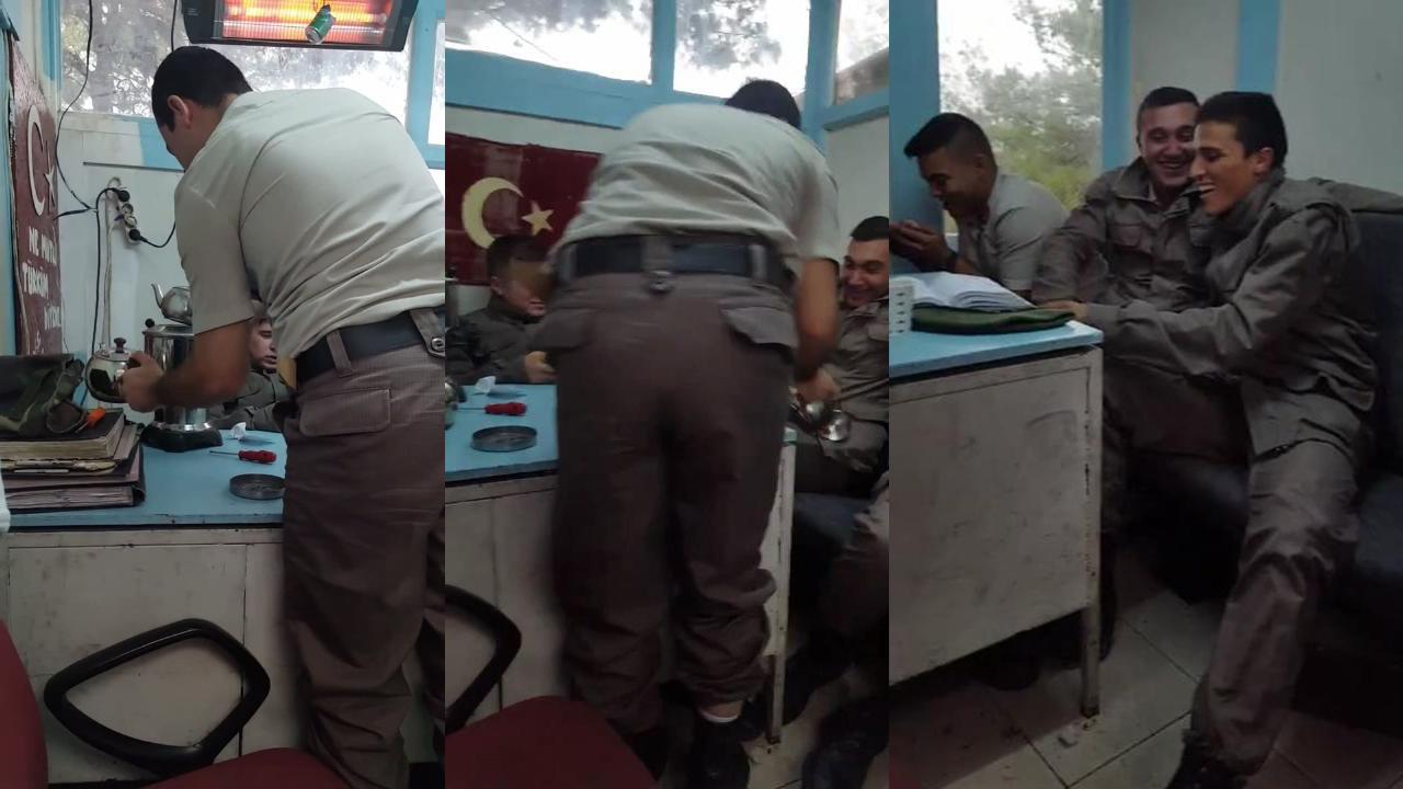 Devrelerine çaydanlık şakası yapan asker