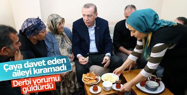 Erdoğan çaya davet eden aileye misafir oldu
