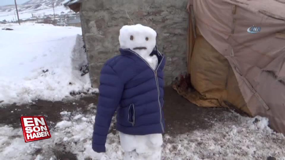 Hindileri tilkilerden korumak için kardan adamlar yaptı