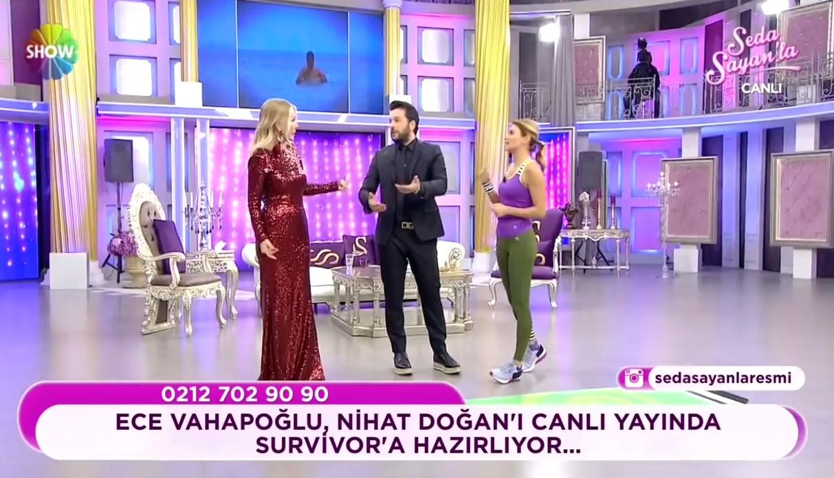 Ece Vahapoğlu Nihat Doğan'ı canlı yayında yarışmaya hazırladı
