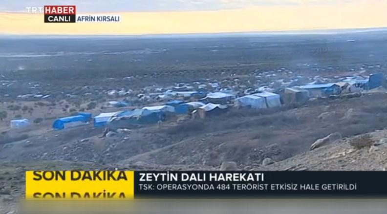 Afrin'den kaçan binlerce kişinin kaldığı çadırlar