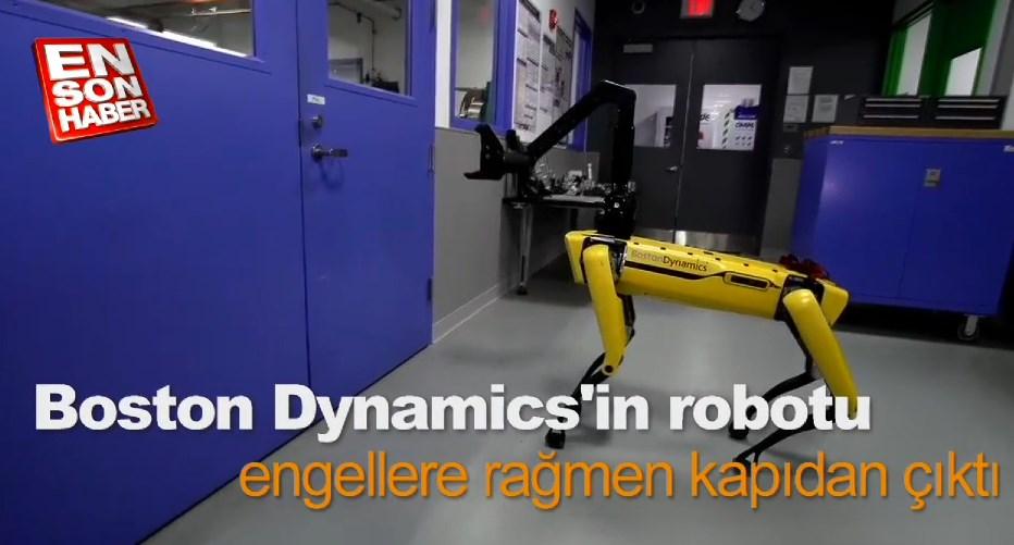 Boston Dynamics'in robotu engellere rağmen kapıdan çıktı