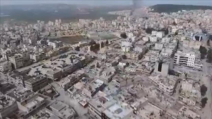 Afrin ilçe merkezini havadan görüntülendi