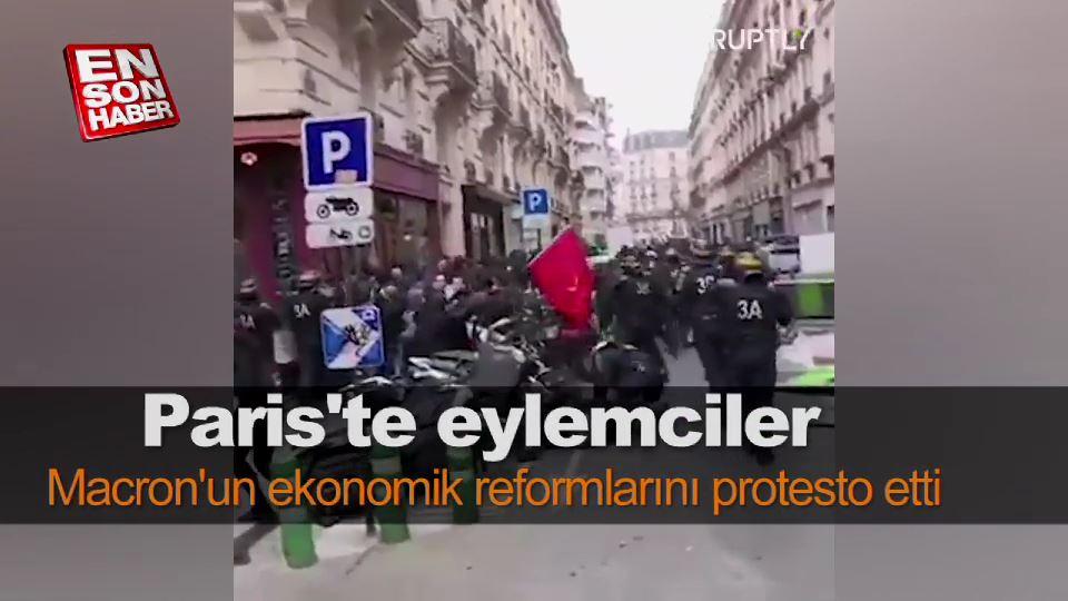 Paris'te Macron'un ekonomik reformlarını protesto edildi