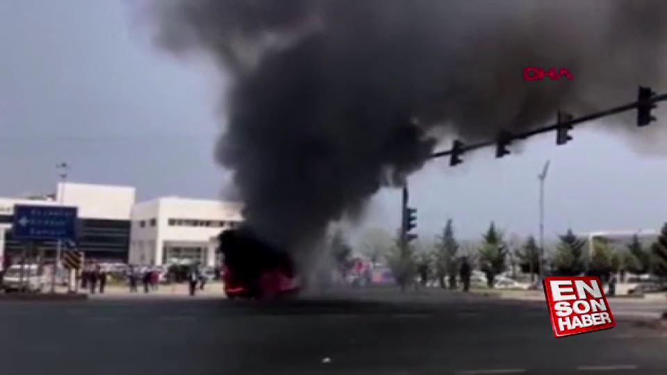 Trabzon'da seyir halindeki alev alev yandı