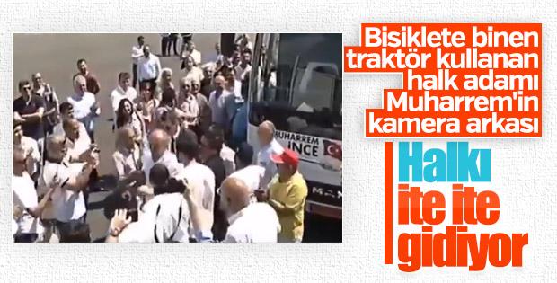 Muharrem İnce sinirini CHP'lileri ittirerek çıkardı