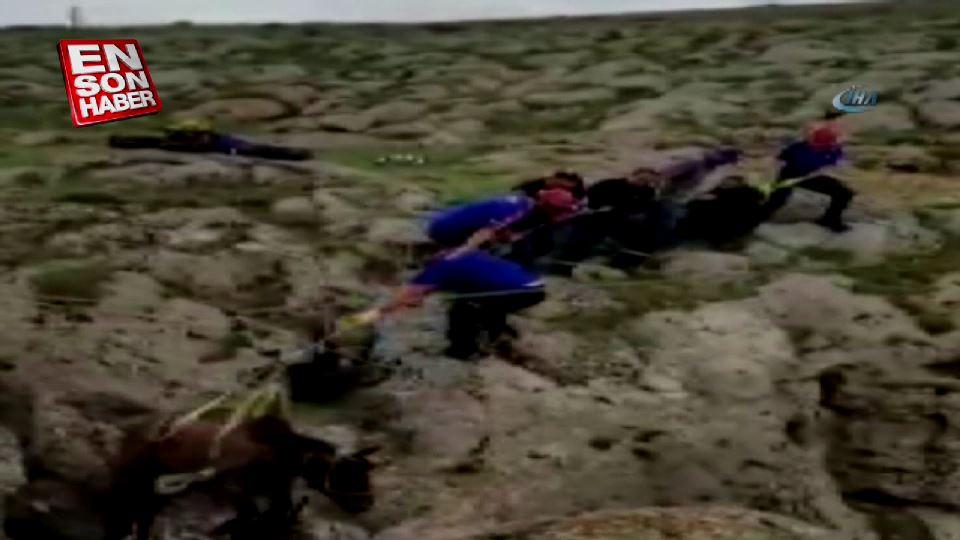 Kayalıklara sıkışan atı AFAD ekipleri kurtardı