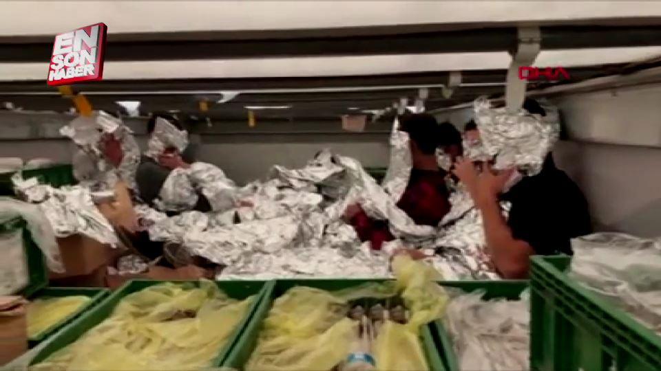 Göçmenleri saklamak için alüminyum folyoya sardılar