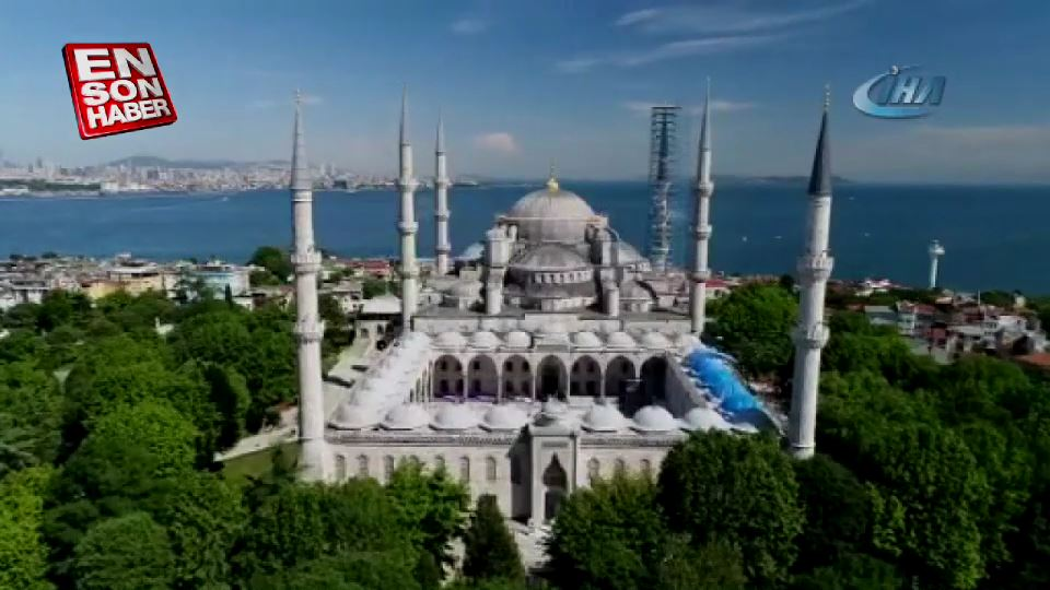 Sultanahmet Cami'nde restorasyon görüntülendi