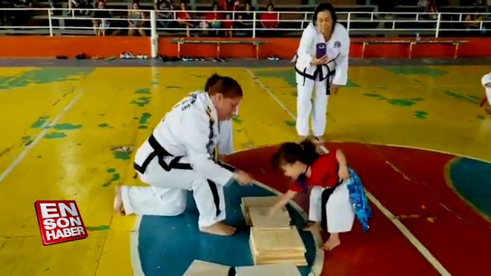 Minik kızın Taekwondo ile imtihanı