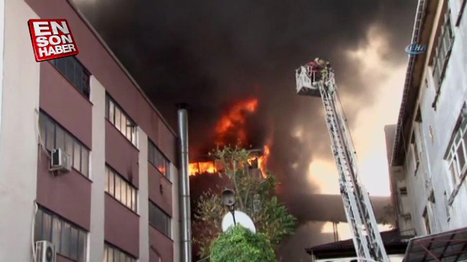 Davutpaşa'da iplik fabrikasında yangın