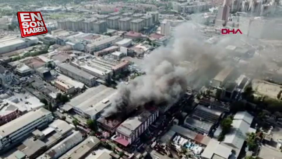 İplik fabrikası yangınının havadan görüntüleri