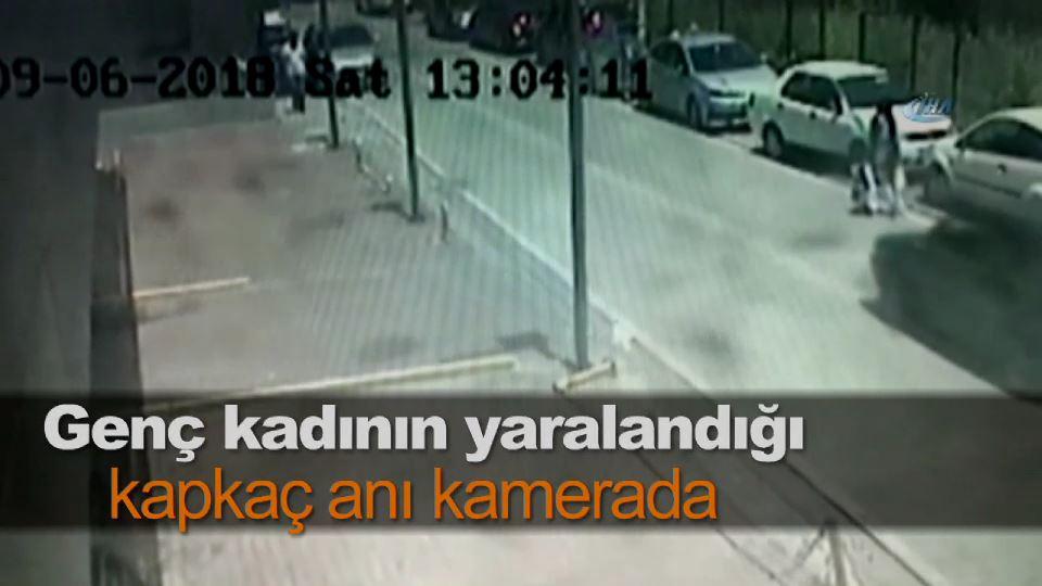 Genç kadının yaralandığı kapkaç anı kamerada