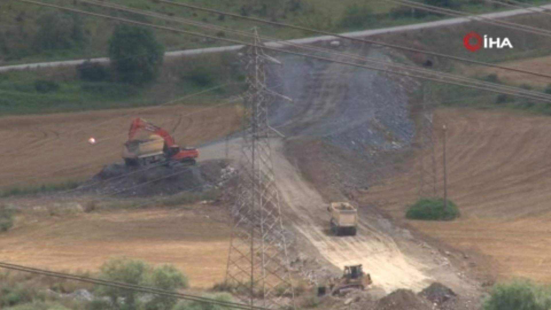 Kanal İstanbul şantiye alanında ek yol çalışması